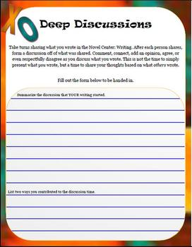 Reading Centers:Writing, Discussion, Comprehension, & Trivia; 5thG Common Core