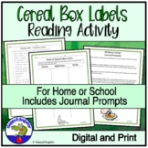 Reading Cereal Box Labels Activity