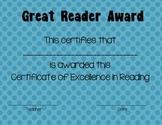 Reading Certificate Blue Dot Theme