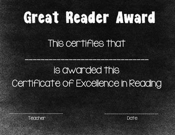 Reading Certificate Chalkboard Theme