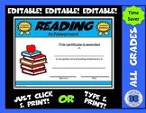 Reading Certificate - Editable