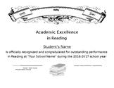 Reading Certificate Simple Easy Generic End of School Year Award