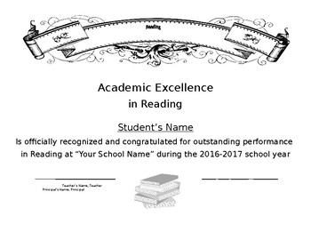 Reading Certificate Simple Easy Generic End of School Year Award
