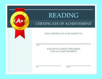 Reading Certificate of Achievement