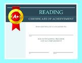 Reading Certificate of Achievement