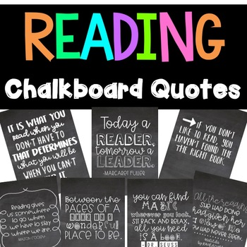 Reading Chalkboard Quotes: Reading Motivation Posters