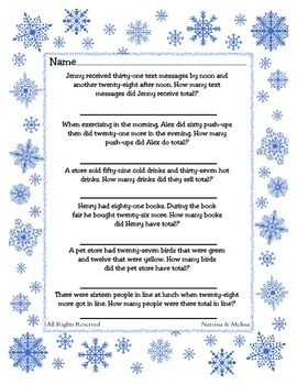 Reading Challenge Addition ~ One Work Sheet ~ Many Seasons