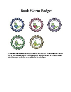 Bookworm Reading Challenge Badges - Gamify your classroom