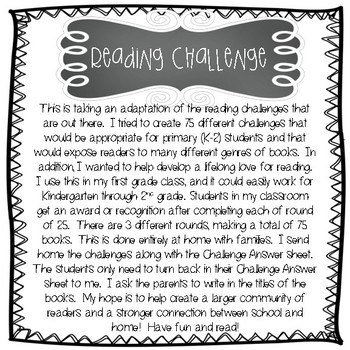 Reading Challenge (for primary grades)