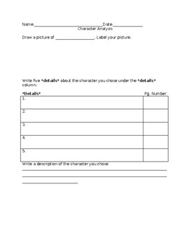 Reading Character Analysis Blank Form Workpage