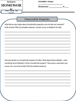 Reading - Characteristic Properties of Matter