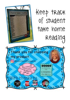 Reading Chart - Take home reading tracker