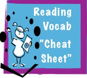"Reading Vocabulary ""Cheat"" Sheet"