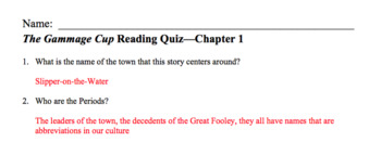 Reading Check Quizzes for The Gammage Cup