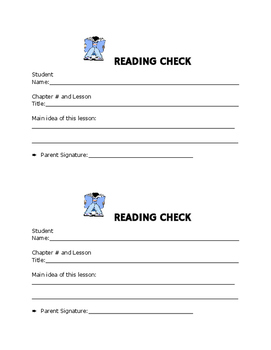 Reading Check Sheet