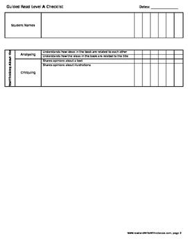 Reading Checklist- Level A