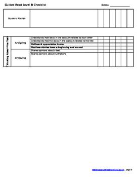 Reading Checklist- Level B