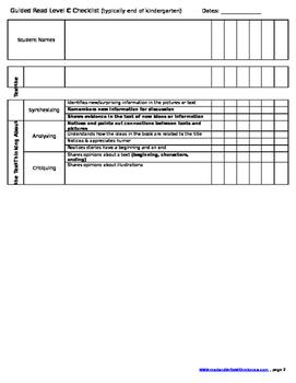 Reading Checklist- Level C