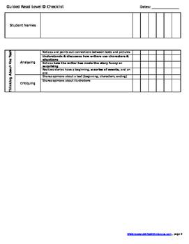 Reading Checklist- Level D
