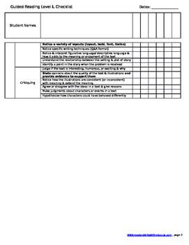 Reading Checklist- Level L