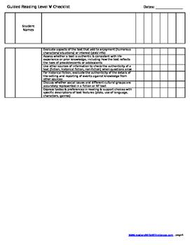 Reading Checklist- Level V