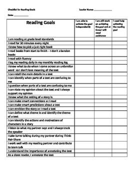 Reading Checklist of Goals