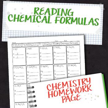 Reading Chemical Formulas Chemistry Homework Worksheet