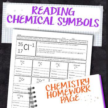 Reading Chemical Symbols Chemistry Homework Worksheet By Science