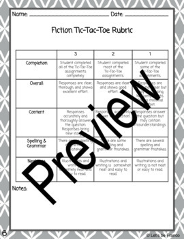 Reading Choice Activities and Tic Tac Toes