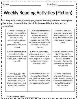 Reading Choice Activity Board