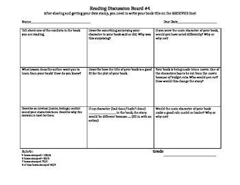 Reading Choice Board 4
