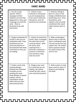 Back to School Writing Activities Choice Board