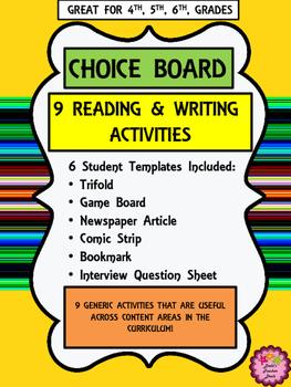 Writing Activities Choice Board