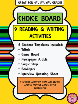 """Reading, Writing Choice Board Activities for """"All Year"""""""
