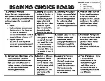 Reading Choice Board Common Core Alligned