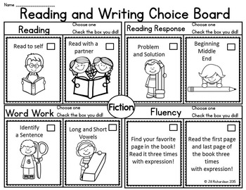 Reading Choice Board! First Grade