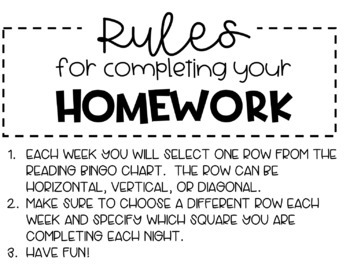 Reading Bingo - Homework Choice Board