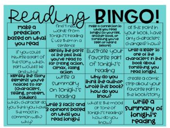 Reading Choice Board Homework