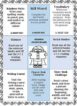 Reading Choice Board Seat work rotations