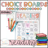 Reading Choice Boards Print & Go and EDITABLE   Distance Learning