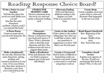 Reading Choice board Activity