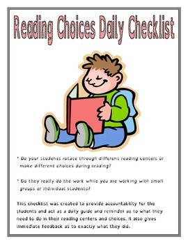 Reading Choices Daily Checklist