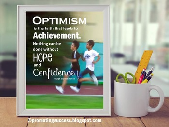 Optimism Poster Ralph Waldo Emerson Inspirational Quote Poster