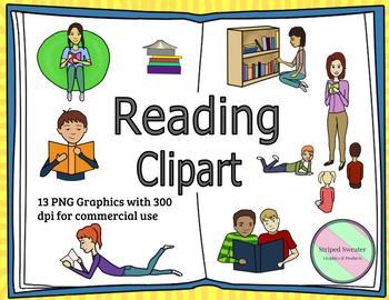 Reading Clip Art - PNG 300 dpi