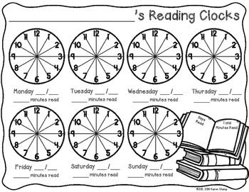 Reading Log: Nightly Reading Log Clocks