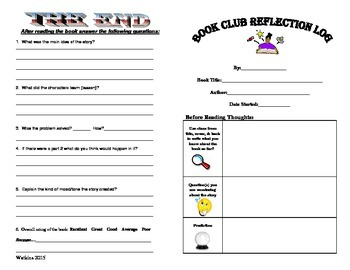 Reading Group Response Booklet - Blank Agendas for Any Chapter Book