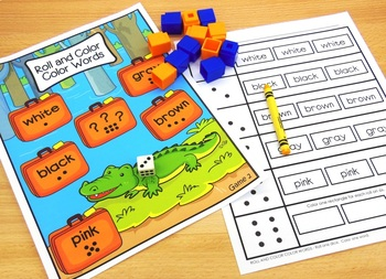 Reading Color Words Game - Roll the Dice and Color the Box