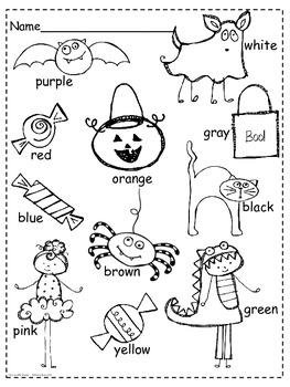 Reading Color Words Halloween Fun!