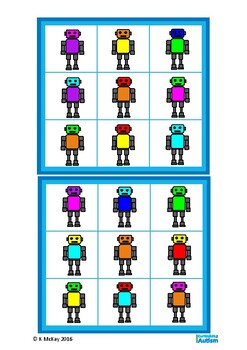 Autism Read & Match Color Lotto Game,Robot Theme, Special Education