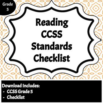 Reading Common Core Standards Checklist